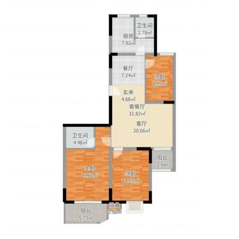 金陵世纪花园3室2厅2卫1厨123.00㎡户型图