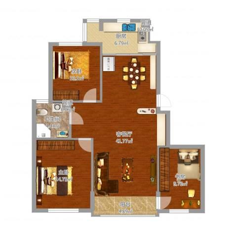 海创半山壹号3室2厅2卫2厨110.00㎡户型图