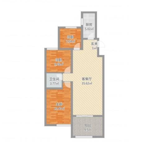 大地都市美郡3室2厅1卫1厨107.00㎡户型图