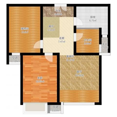 宇泰泰悦1室2厅1卫1厨92.00㎡户型图