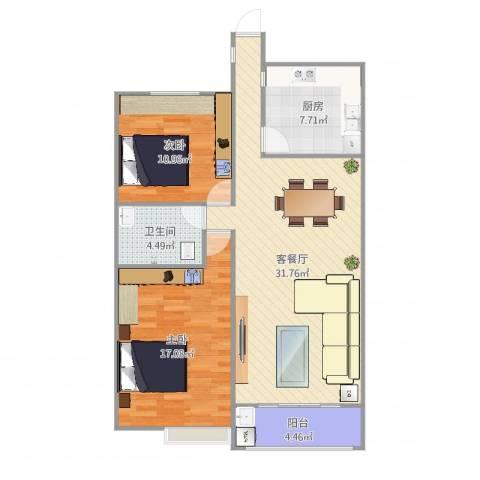 大地都市美郡2室2厅1卫1厨96.00㎡户型图