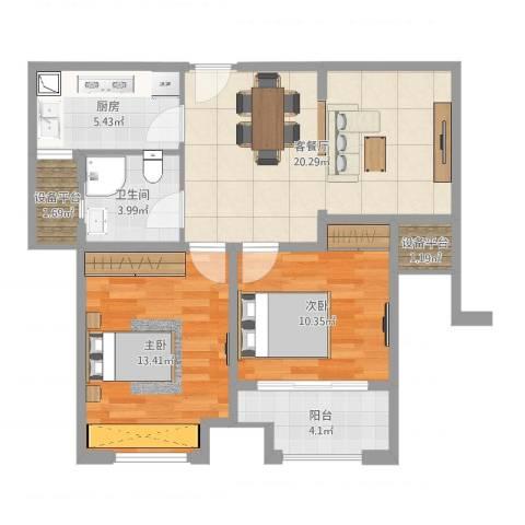 汇金广场2室2厅1卫1厨76.00㎡户型图