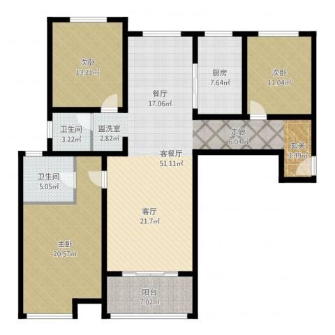 鼓楼上城3室2厅2卫1厨149.00㎡户型图