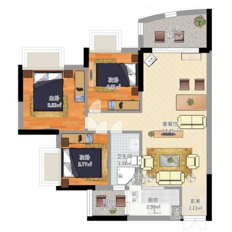 广东工业大学宿舍3室2厅1卫1厨74.00㎡户型图