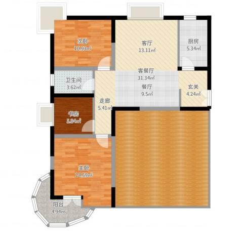 金陵世纪花园3室2厅1卫1厨141.00㎡户型图