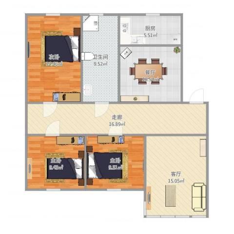 天顺花园3室2厅1卫1厨114.00㎡户型图