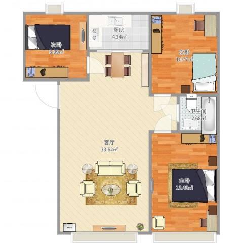 永康水印城A户型101.37平3室1厅1卫1厨91.00㎡户型图