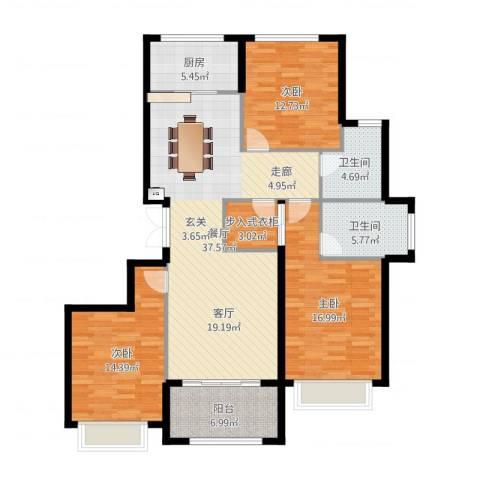 大家之江悦3室1厅2卫1厨135.00㎡户型图