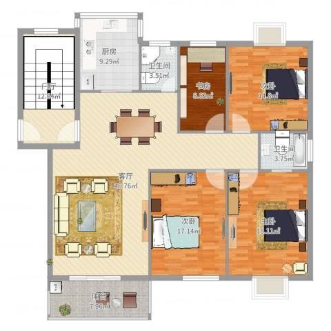 华泰剑桥4室1厅2卫1厨178.00㎡户型图