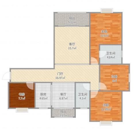 天行.御景庄园3期A14室2厅2卫1厨128.00㎡户型图