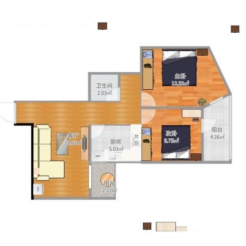 北苑家园绣菊园2室1厅1卫1厨69.00㎡户型图