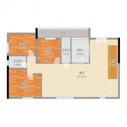 星誉花园3室1厅2卫1厨161.00㎡户型图