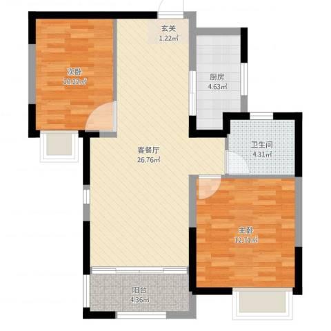 海亮天城2室2厅1卫1厨79.00㎡户型图
