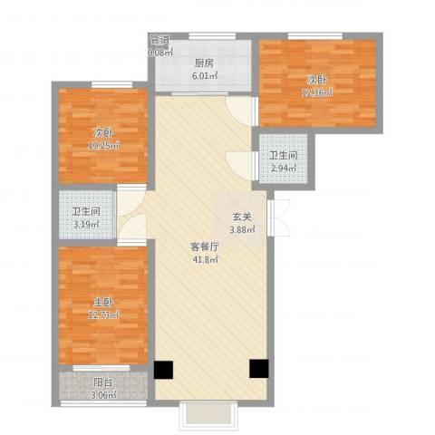 怡景茗苑3室2厅2卫1厨116.00㎡户型图