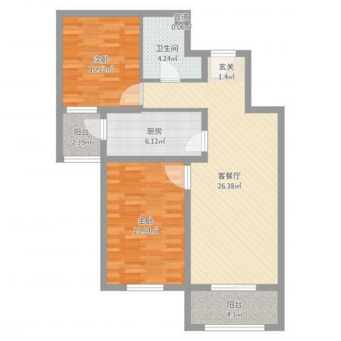 盛世尚水城2室2厅1卫1厨85.00㎡户型图