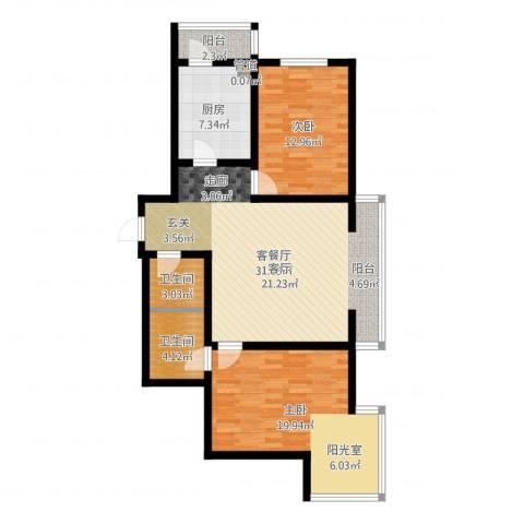 水映兰庭2室2厅2卫1厨102.00㎡户型图