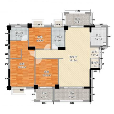 金龙华侨城3室2厅2卫1厨141.00㎡户型图