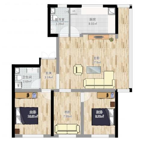 如一坊中央公园4室2厅1卫1厨93.00㎡户型图