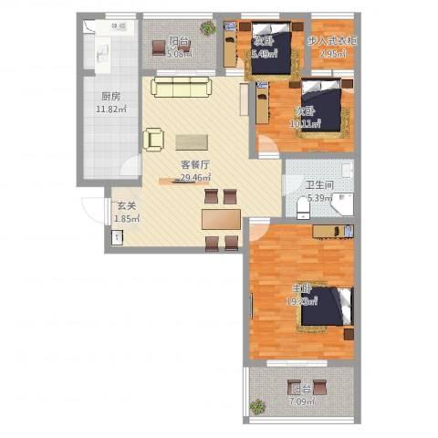 文兴苑3室2厅1卫1厨96.62㎡户型图