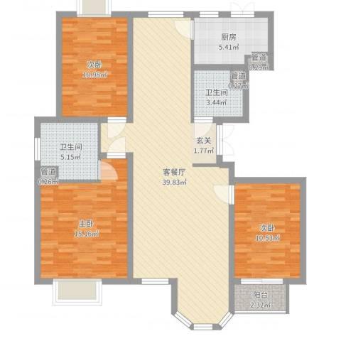 唐宁大道3室2厅2卫1厨117.00㎡户型图