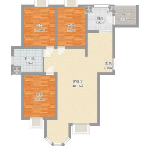 唐宁大道3室2厅1卫1厨111.00㎡户型图