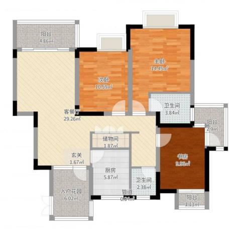 领秀江南3室2厅2卫1厨116.00㎡户型图