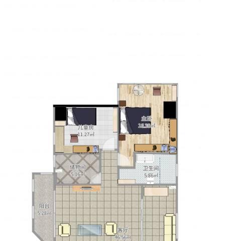 祥龙花园2室1厅1卫1厨121.00㎡户型图