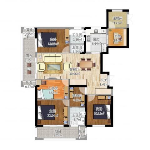 世茂石湖湾5室2厅3卫1厨144.00㎡户型图