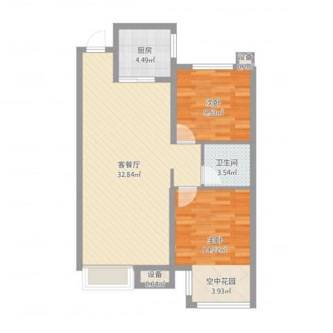 金洋石河湾2室2厅1卫1厨82.00㎡户型图