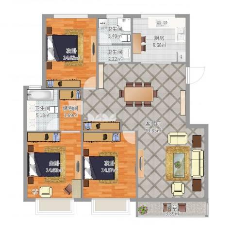 丽园馨都3室2厅3卫1厨146.00㎡户型图