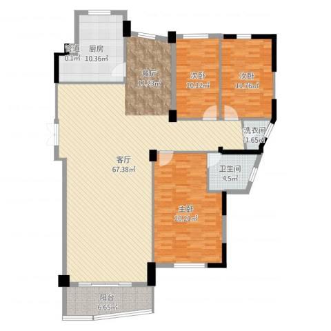 武夷天琴湾3室1厅1卫1厨166.00㎡户型图