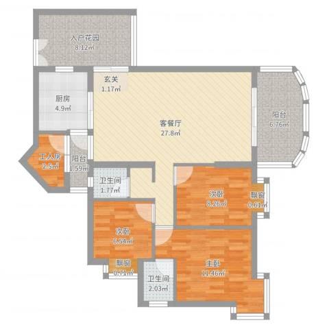 瑞景居3室2厅2卫1厨102.00㎡户型图