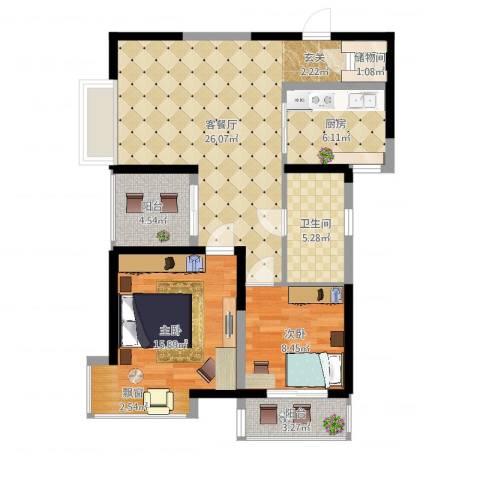 金陵王榭2室2厅1卫1厨88.00㎡户型图