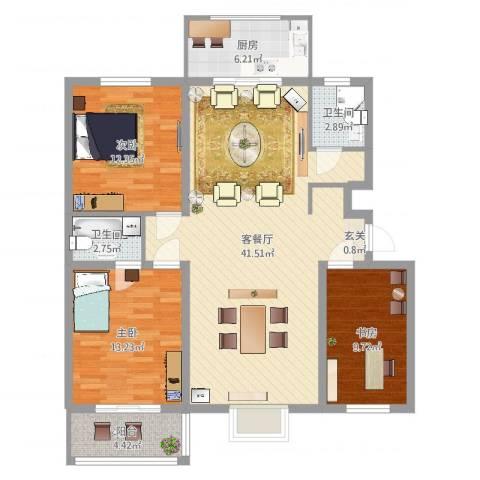 学府康城3室2厅2卫1厨116.00㎡户型图