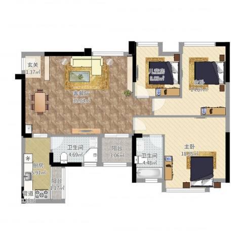 万象凯旋湾3室2厅2卫1厨119.00㎡户型图