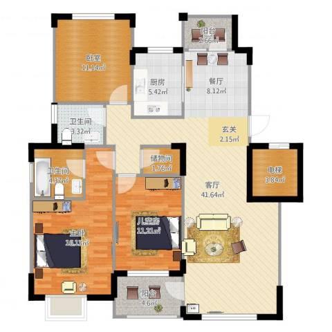 中信城2室1厅2卫1厨133.00㎡户型图
