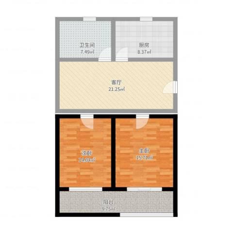 富顿街区2室1厅1卫1厨110.00㎡户型图