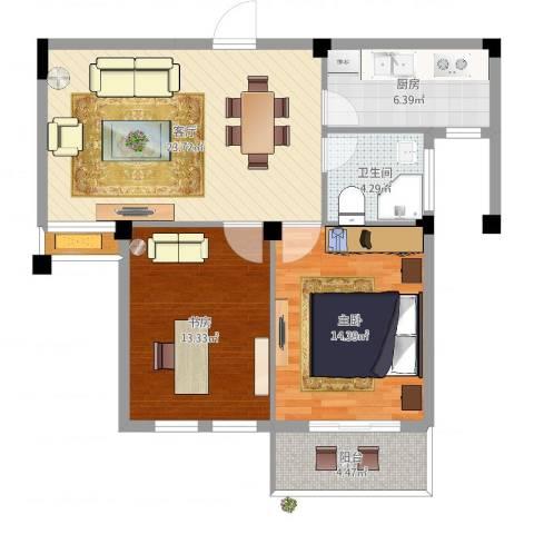 嘉悦景苑2室1厅1卫1厨84.00㎡户型图