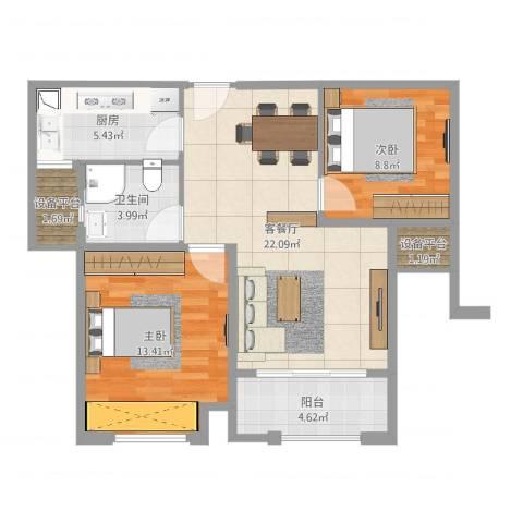 汇金广场2室2厅1卫1厨77.00㎡户型图