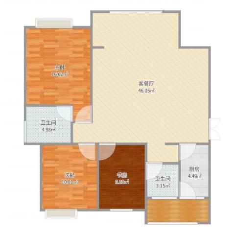 旌城一品3室2厅2卫1厨124.00㎡户型图