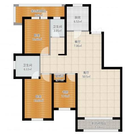 万科金域蓝湾1室1厅2卫1厨139.00㎡户型图