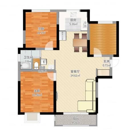 宝境檀香2室2厅1卫1厨101.00㎡户型图