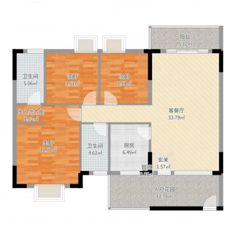 三正世纪新城3室2厅2卫1厨131.00㎡户型图