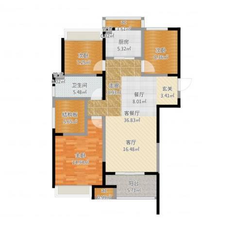 天正理想城3室2厅1卫1厨131.00㎡户型图