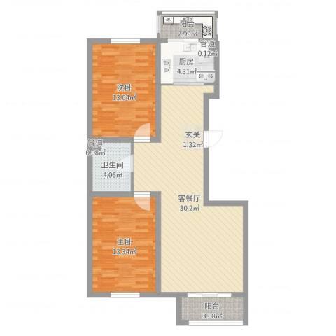 君海・朗郡2室2厅1卫1厨89.00㎡户型图
