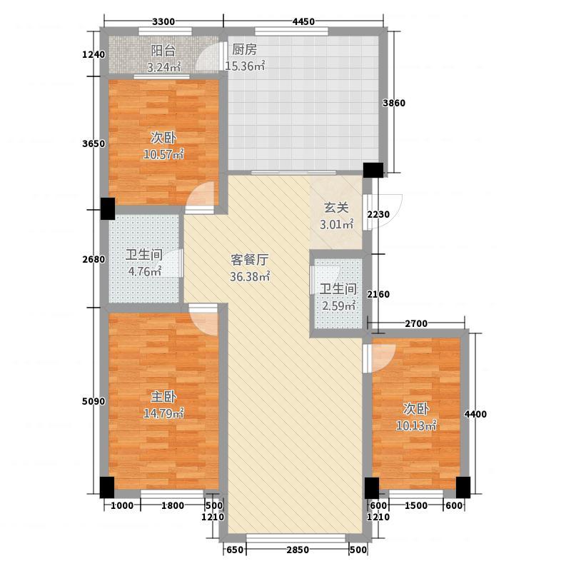北大新城322138.19㎡E户型3室2厅2卫1厨