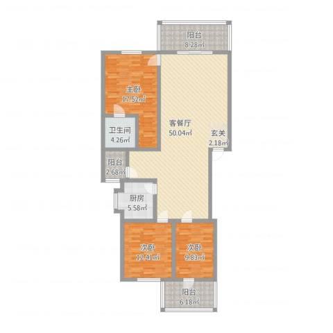 保利苑3室2厅1卫1厨146.00㎡户型图