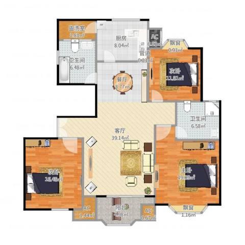 西班牙名园一期3室1厅2卫1厨159.00㎡户型图