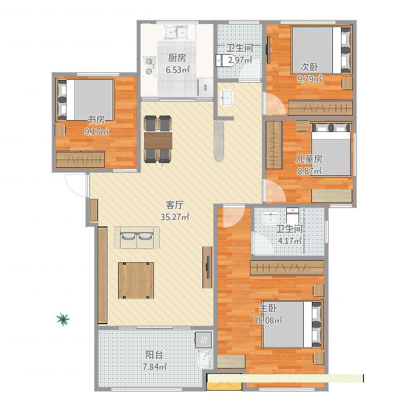 风景城邦塞纳河畔G1户型-四室二厅二卫-137平米