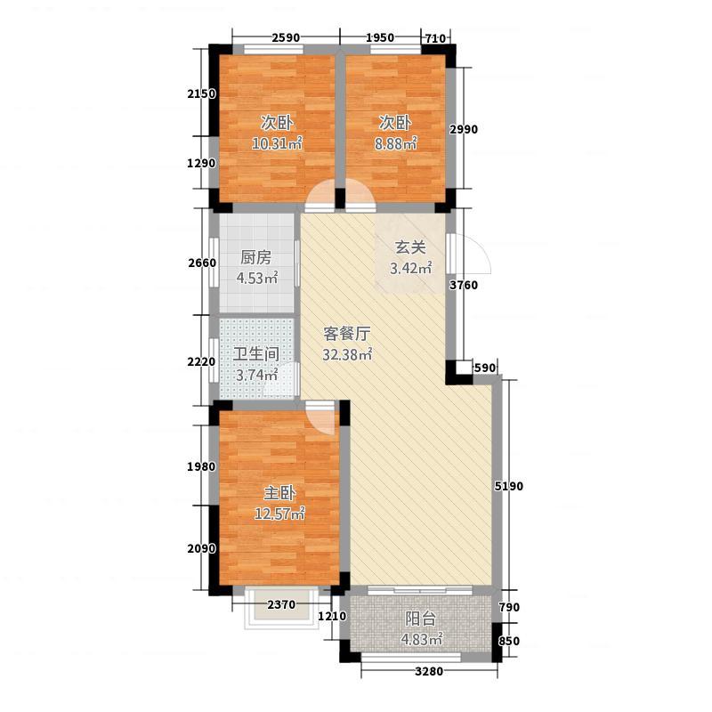 置地・阳光花园1.24㎡多层洋房A户型3室2厅1卫1厨